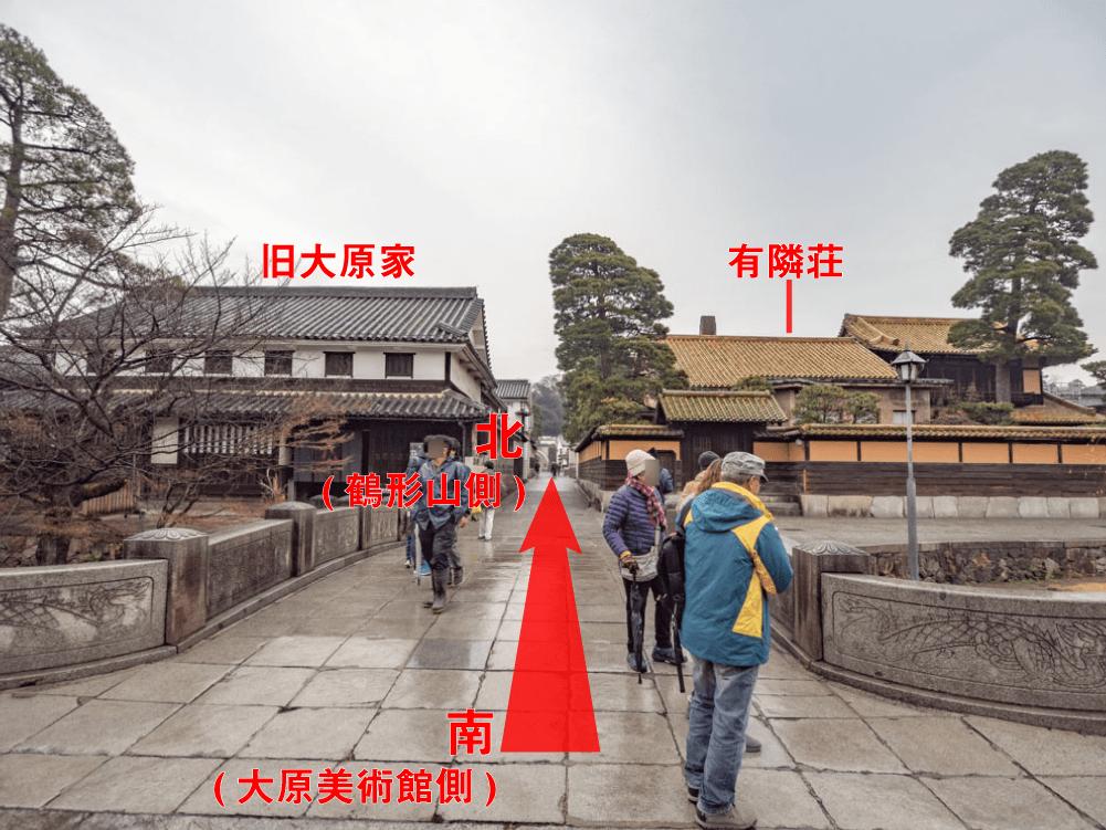 観龍寺へのアクセス 倉敷川畔の大原美術館前から北を望む