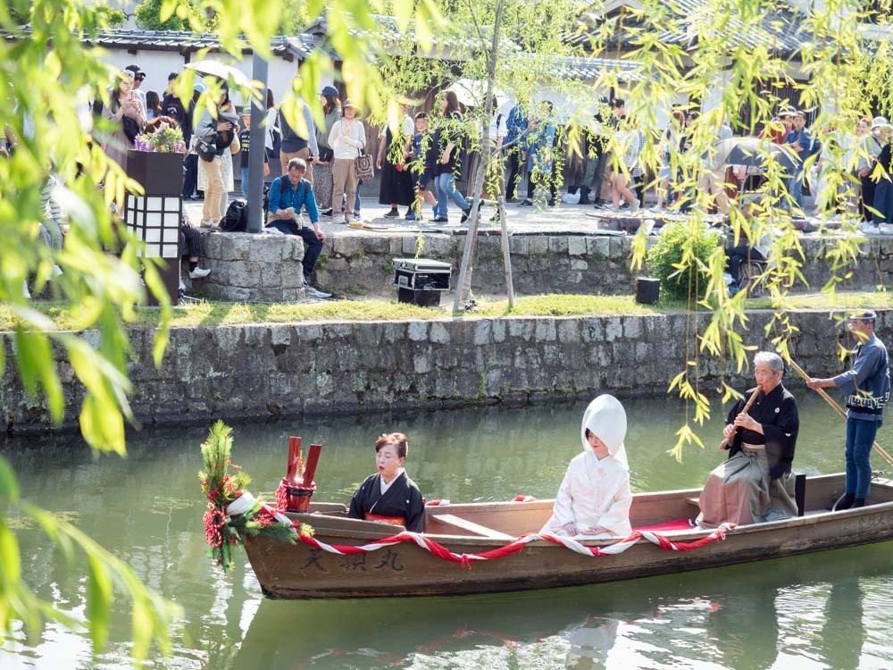 藤見の会(令和元年) 倉敷川畔でのハートランド倉敷 瀬戸の花嫁 川船流し