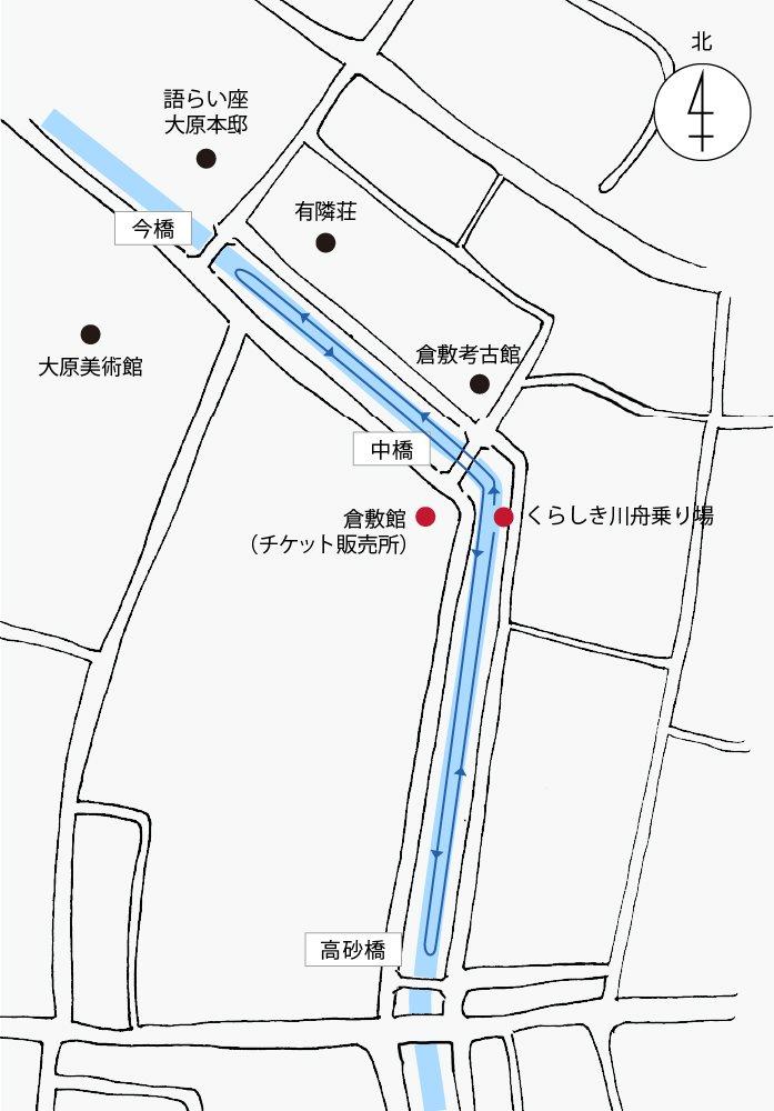 くらしき川舟流し マップ