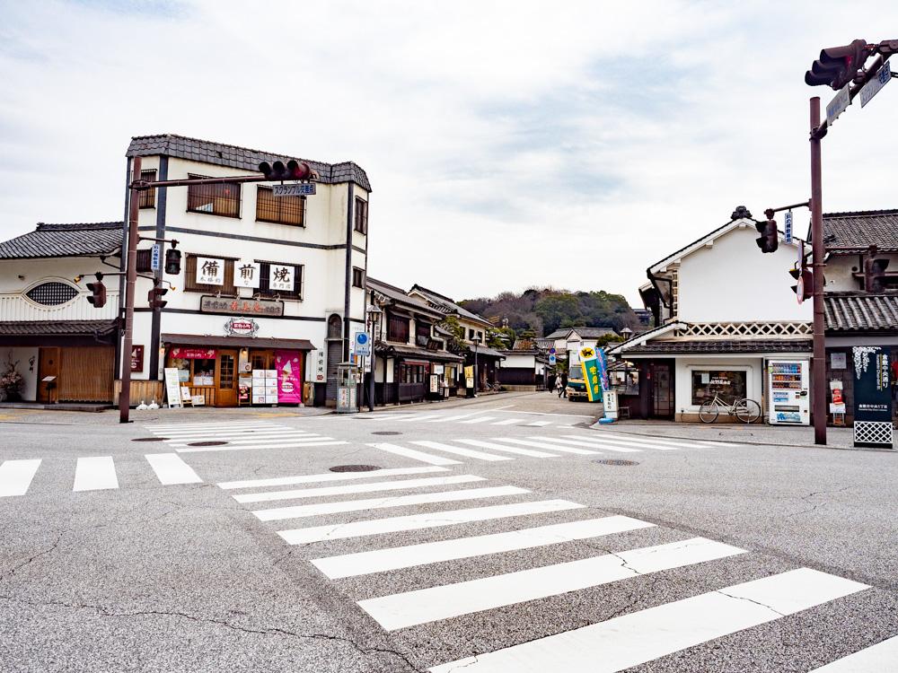 おおにしへの行き方:美観地区入口交差点